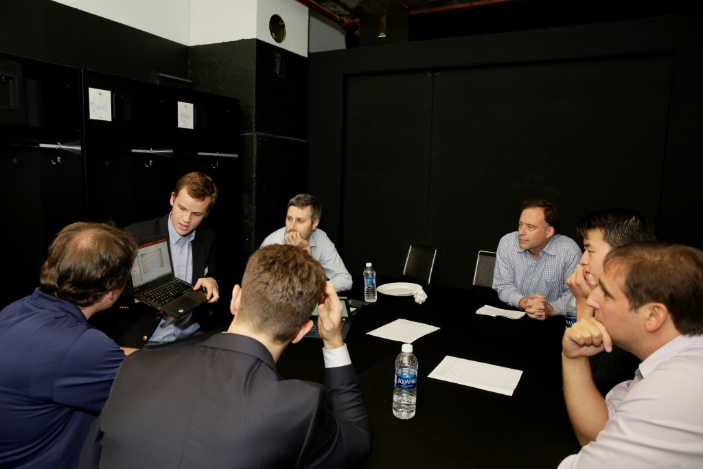 Mike Zarren, Zach Bradshaw, Mark Broadie, Zach Lowe, and Hao Meng discuss the finalist presentations.